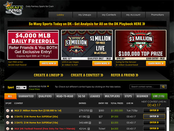 DraftKings lobby screenshot