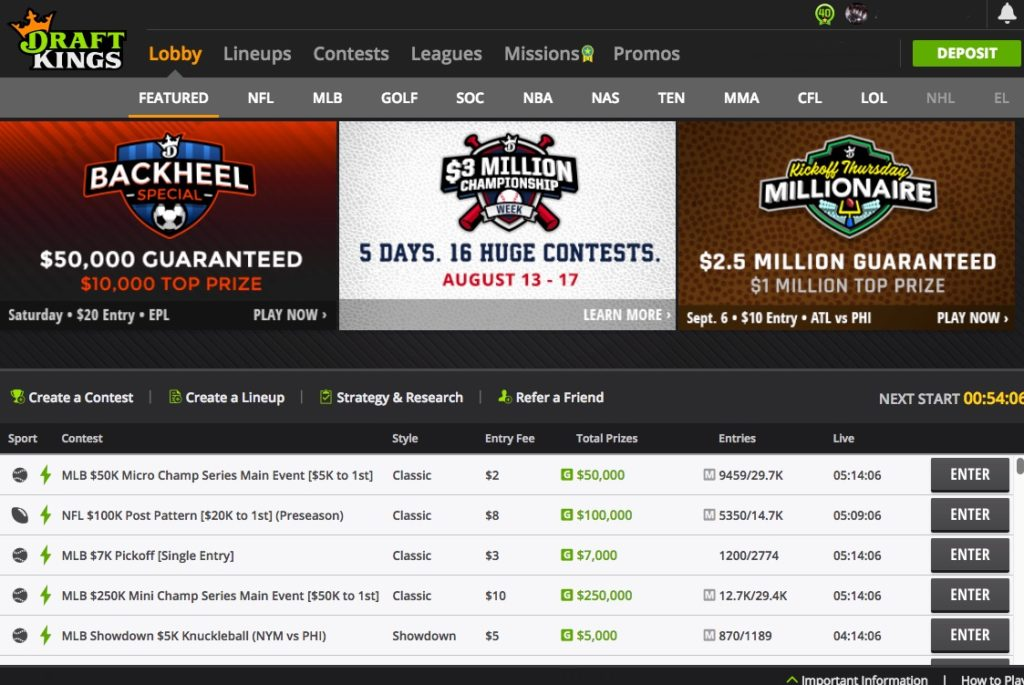Screenshot of DraftKings' contest lobby